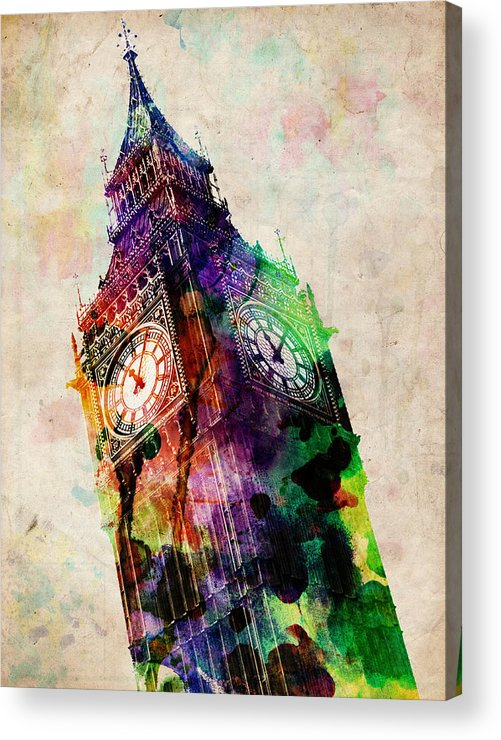 London Acrylic Print featuring the digital art London Big Ben Urban Art by Michael Tompsett