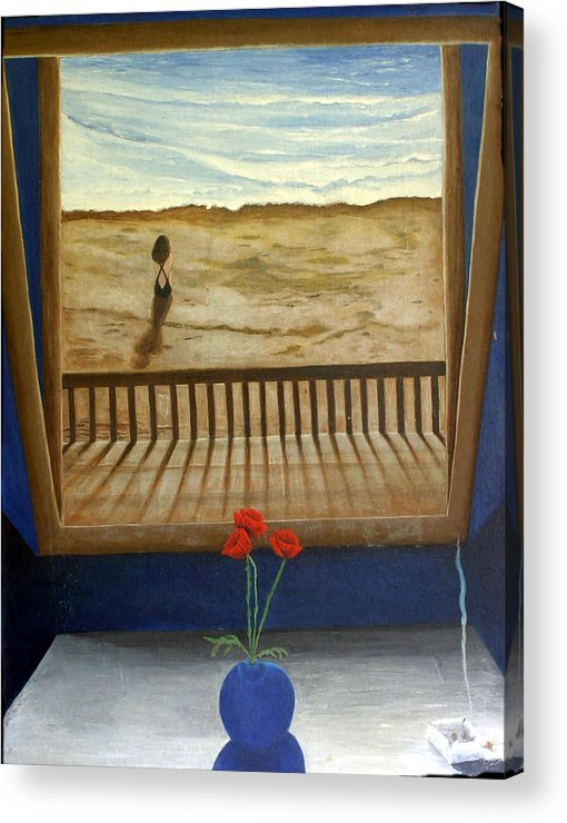 Figurative Acrylic Print featuring the painting Lonely Beach by Georgette Backs