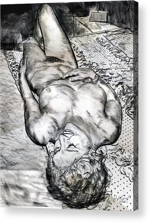 Nude Acrylic Print featuring the drawing Nude Maria on Animal Sheets by Randy Sprout