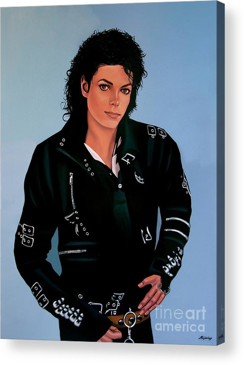 Michael Jackson Acrylic Print featuring the painting Michael Jackson Bad by Paul Meijering