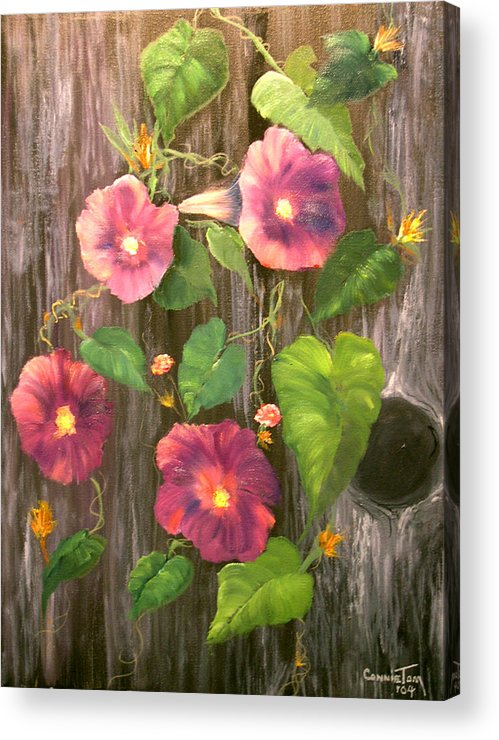 Connie Tom Acrylic Print featuring the painting Morning Glories by Connie Tom