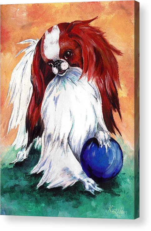 Japanese Chin Acrylic Print featuring the painting My Ball by Kathleen Sepulveda