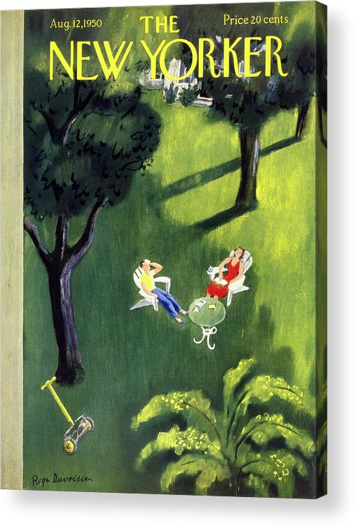 Couple Acrylic Print featuring the painting New Yorker August 12 1950 by Roger Duvoisin