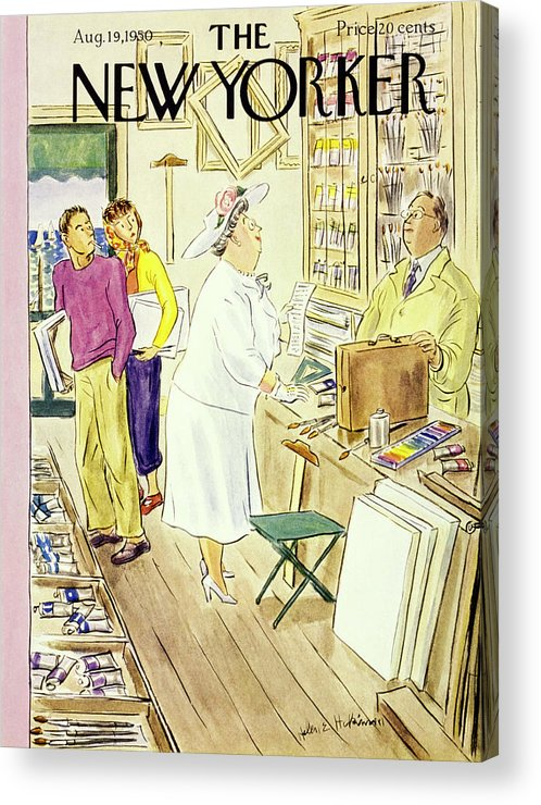 Matron Acrylic Print featuring the painting New Yorker August 19 1950 by Helene E Hokinson