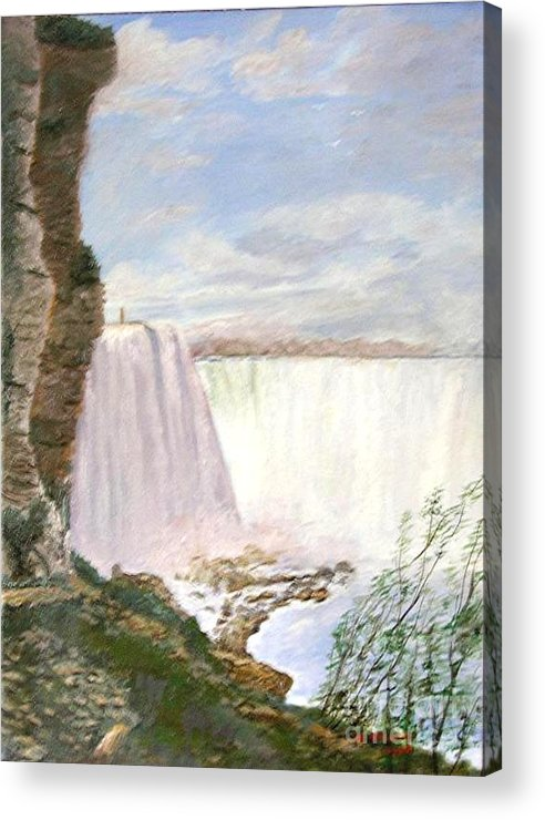 Landscape Painting Niagra Falls Acrylic Print featuring the painting Niagara Falls by Nicholas Minniti