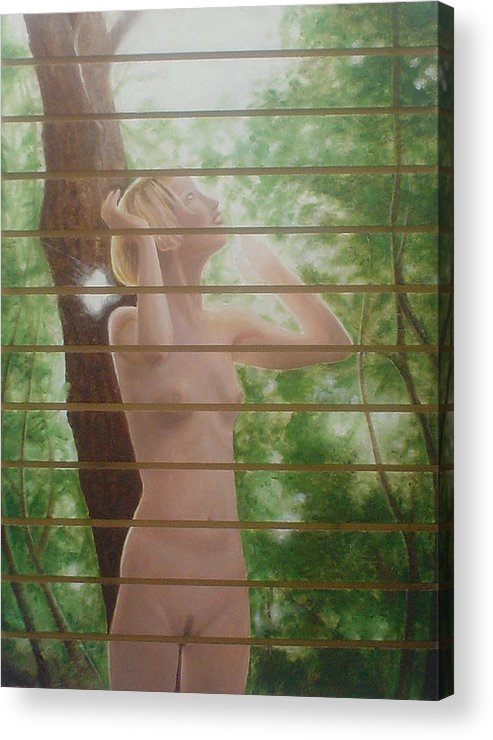 Realistic Acrylic Print featuring the painting Nude forest by Angel Ortiz