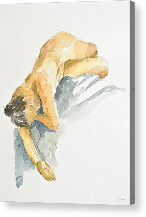 Nude Woman Acrylic Print featuring the painting Nude Series by Eugenia Picado