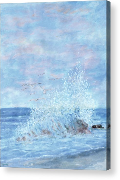 Gulls Acrylic Print featuring the painting Ocean Spray by Ben Kiger