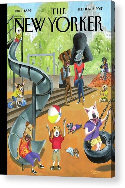 Dog Acrylic Print featuring the drawing Off the Leash by Mark Ulriksen