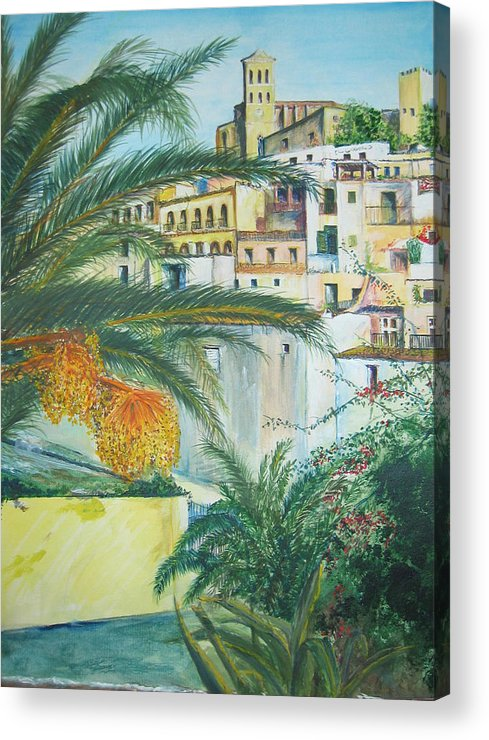 Ibiza Old Town Acrylic Print featuring the painting Old Town Ibiza by Lizzy Forrester