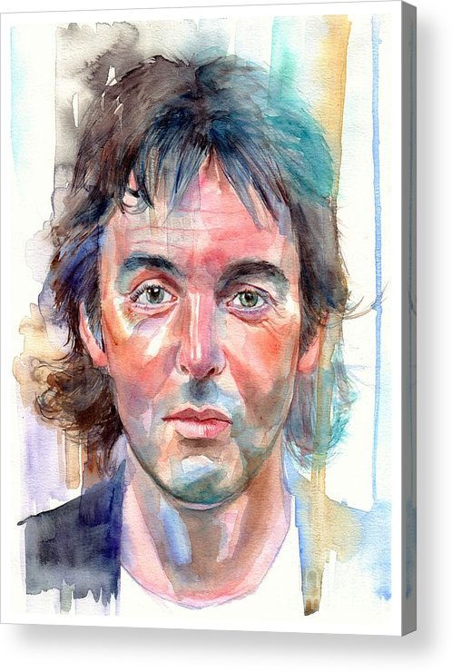 Paul Acrylic Print featuring the painting Paul McCartney young portrait by Suzann Sines