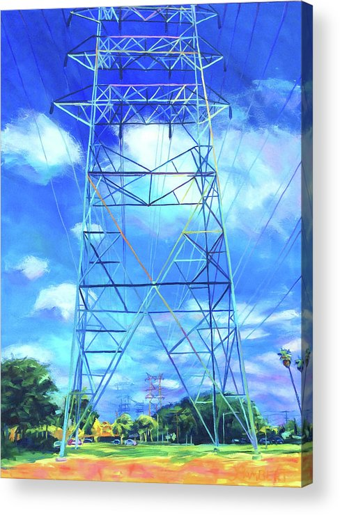 Power Tower Acrylic Print featuring the painting Peaceful by Bonnie Lambert
