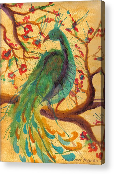 Peacock Acrylic Print featuring the painting Peacock C'hi by Angelique Bowman