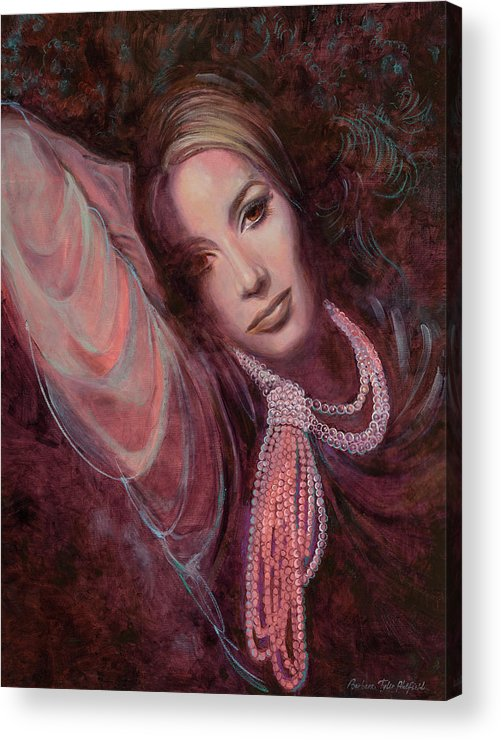 Fashion Illustration Acrylic Print featuring the painting Pearls on Rorie by Barbara Tyler Ahlfield