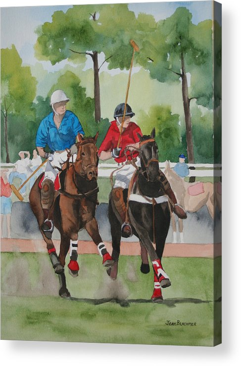 Polo Acrylic Print featuring the painting Polo In The Afternoon 2 by Jean Blackmer