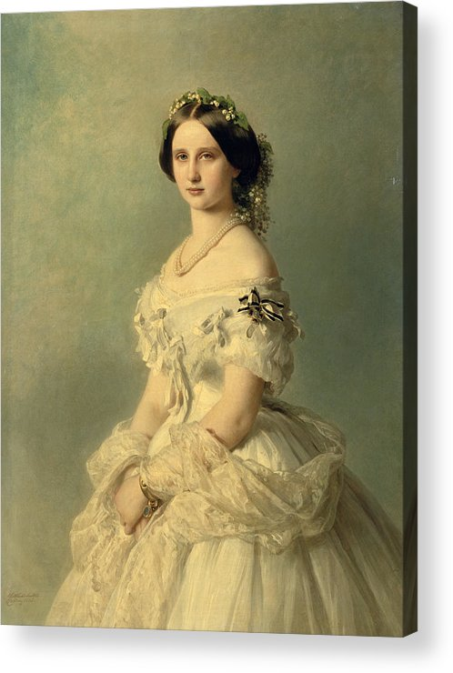 Portrait Acrylic Print featuring the painting Portrait of Princess of Baden by Franz Xaver Winterhalter
