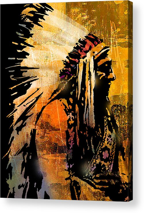 Native American Acrylic Print featuring the painting Profile of Pride by Paul Sachtleben