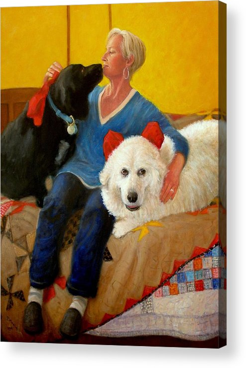 Realism Acrylic Print featuring the painting Puppy Love by Donelli DiMaria