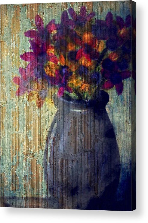Acrylic Print featuring the mixed media Purple and yellow flowers by Joseph Ferguson