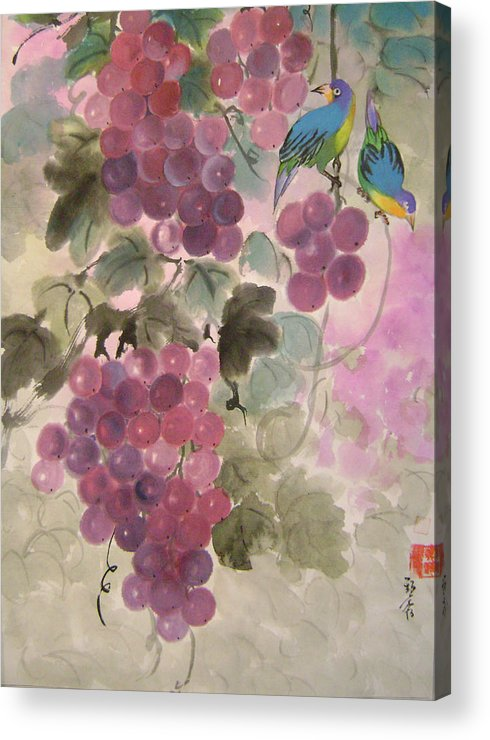 Conceptual Acrylic Print featuring the painting Purple grapes and blue birds by Lian Zhen