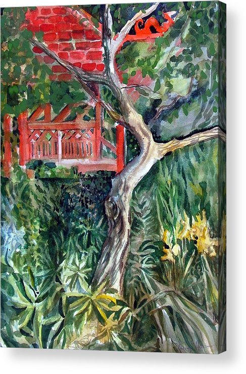 Watercolor Acrylic Print featuring the painting Red Pagoda by Mindy Newman