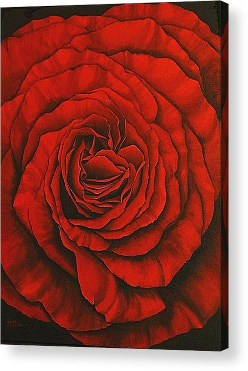Red Acrylic Print featuring the painting Red Rose II by Rowena Finn