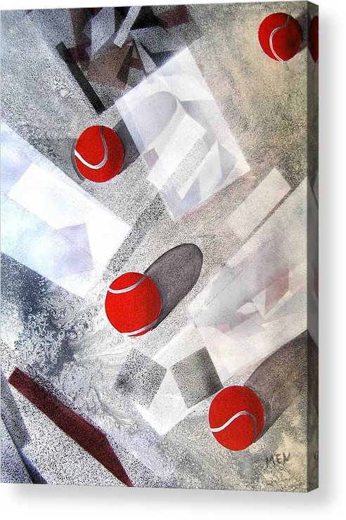 Tennis Balls Acrylic Print featuring the painting Red Tennis Balls On White Sand by Evguenia Men