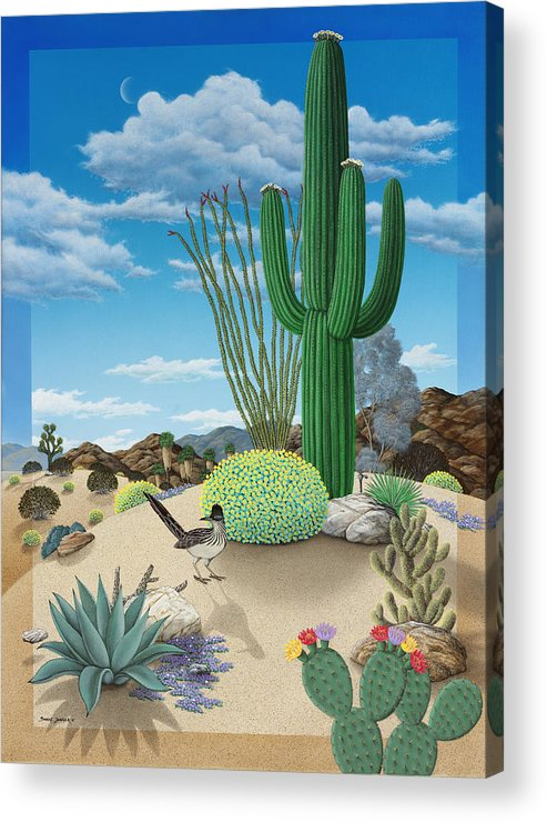 Roadrunner Acrylic Print featuring the painting Roadrunner by Snake Jagger