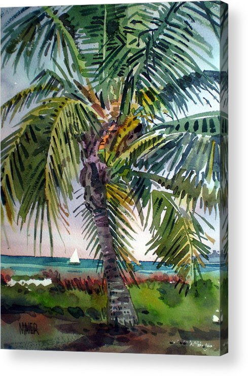 Palm Tree Acrylic Print featuring the painting Sailboat in the Keys by Donald Maier