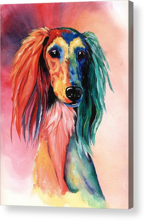 Saluki Acrylic Print featuring the painting Saluki Sunset by Kathleen Sepulveda