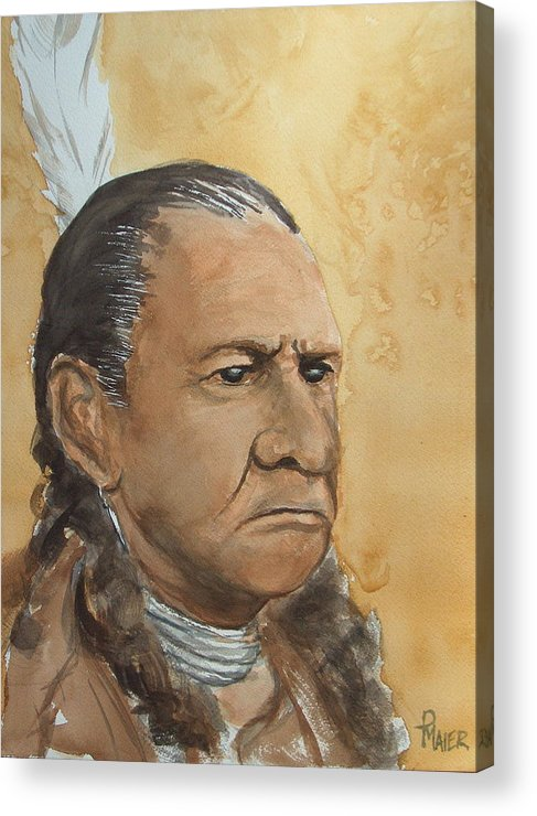 American Indian Acrylic Print featuring the painting Sitting Bull by Pete Maier