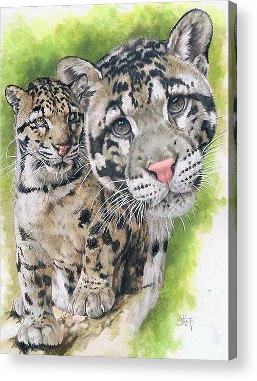 Clouded Leopard Acrylic Print featuring the mixed media Sovereignty by Barbara Keith