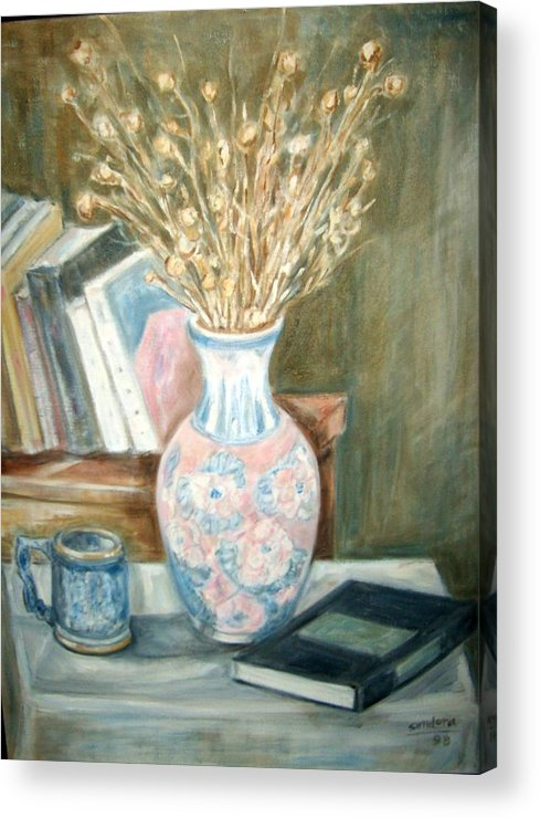 Still Life With Books Vase Dry Plants Book Acrylic Print featuring the painting Stalks 2 by Joseph Sandora Jr
