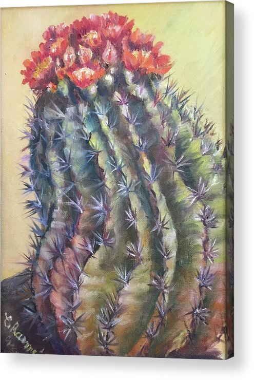 The Desert Cactus Is Not Just One Color And In The Bright Sun All The Colors Have A Glow All Of Their Own. The Greens Are Greener Acrylic Print featuring the painting Sun Kissed Barrel Cactus by Charme Curtin