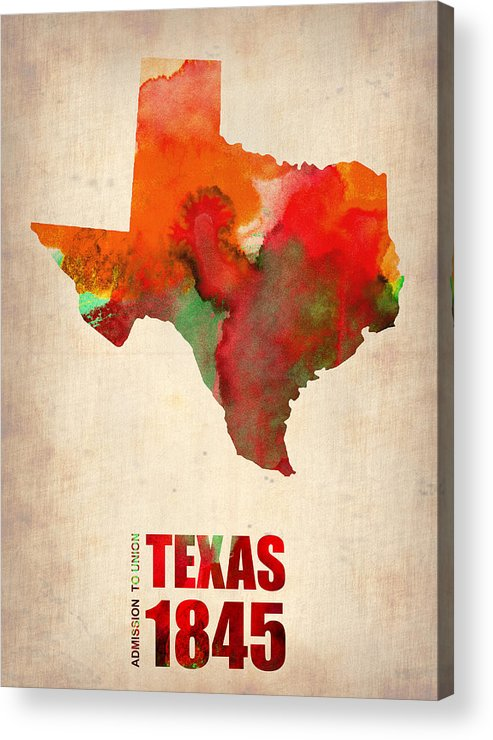 Texas Acrylic Print featuring the digital art Texas Watercolor Map by Naxart Studio