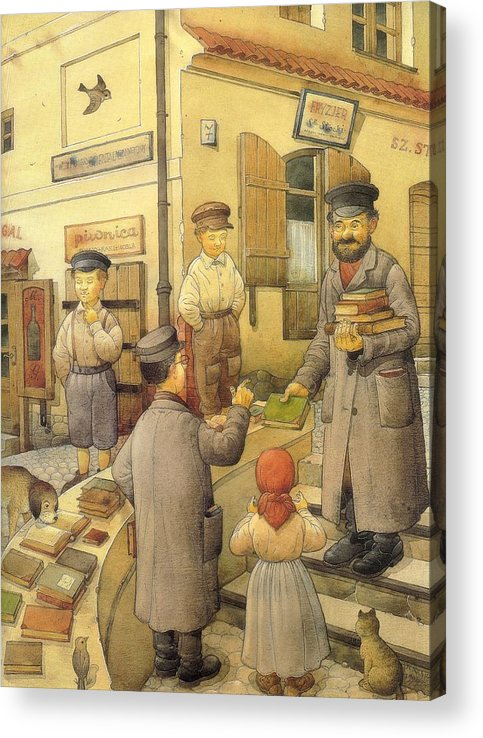 Books Old Town Children Acrylic Print featuring the painting The Bookman by Kestutis Kasparavicius