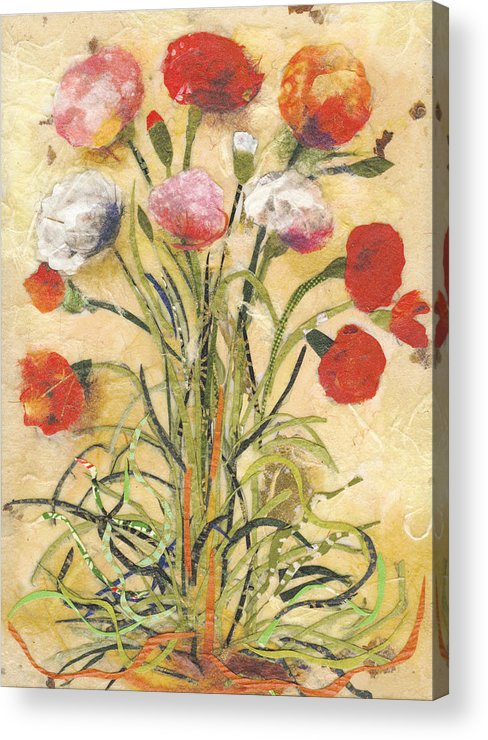 Flowers Acrylic Print featuring the mixed media The floral dance by Nira Schwartz