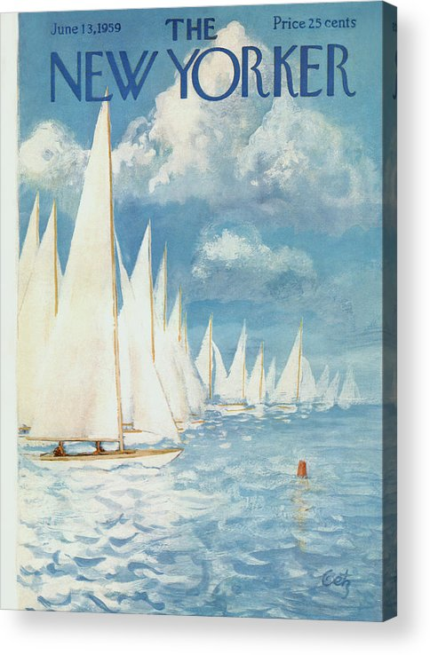 Arthur Acrylic Print featuring the painting New Yorker Cover - June 13th, 1959 by Arthur Getz