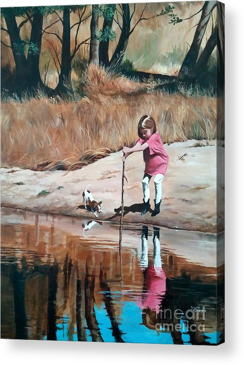 Scenes Acrylic Print featuring the painting The Pond by Suzanne Schaefer
