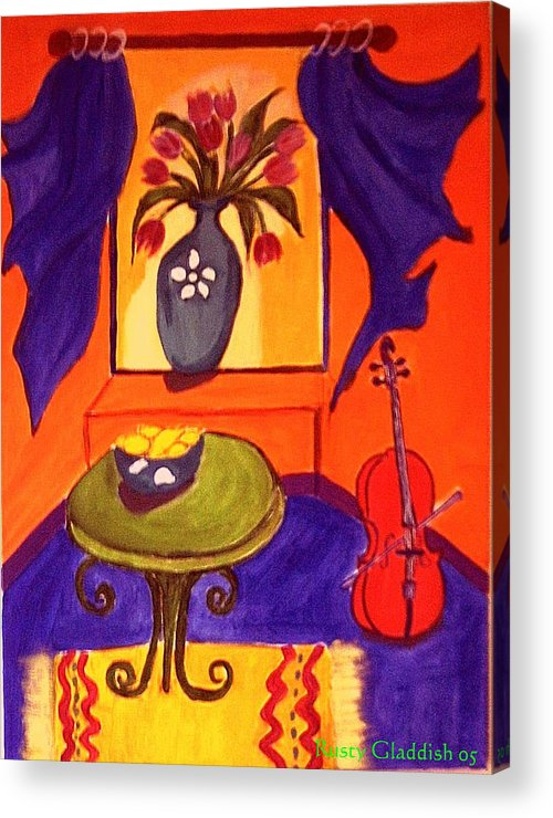 Cello Acrylic Print featuring the painting The Red Cello by Rusty Gladdish
