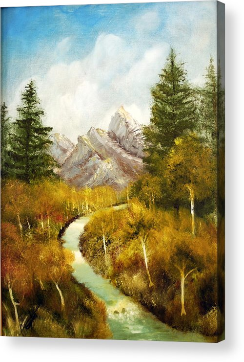 Painting Acrylic Print featuring the painting Thru the ASpens and Up the Mountain by Jack Hampton