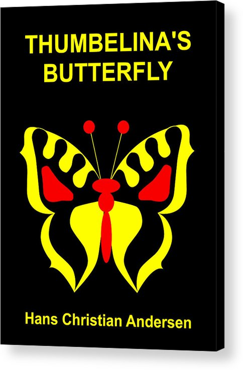 Thumbelina Acrylic Print featuring the digital art Thumbelina's Butterfly - Hans Christian Andersen by Asbjorn Lonvig