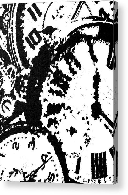 Black Acrylic Print featuring the painting Time -- Hand-pulled Linoleum Cut by Lynn Evenson