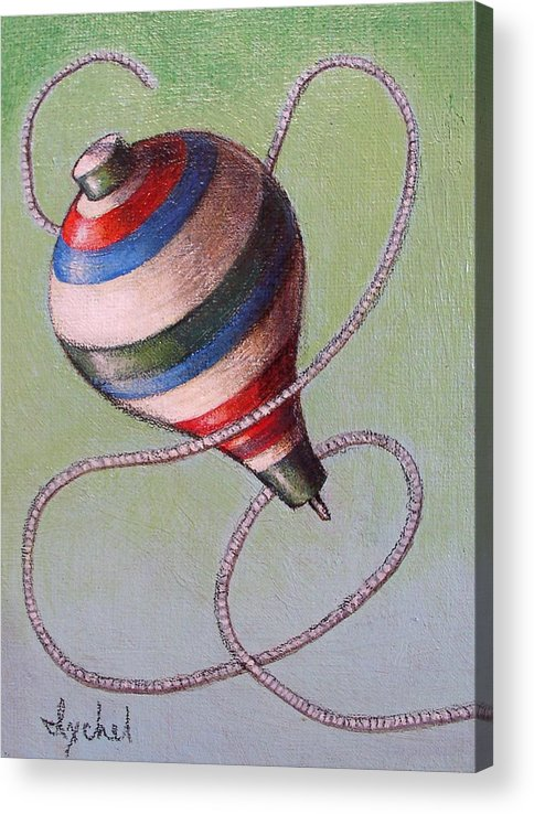 Toy Acrylic Print featuring the painting top by Ixchel Amor