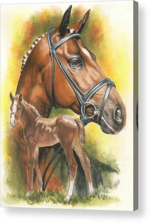 Jumper Hunter Acrylic Print featuring the mixed media Trakehner by Barbara Keith