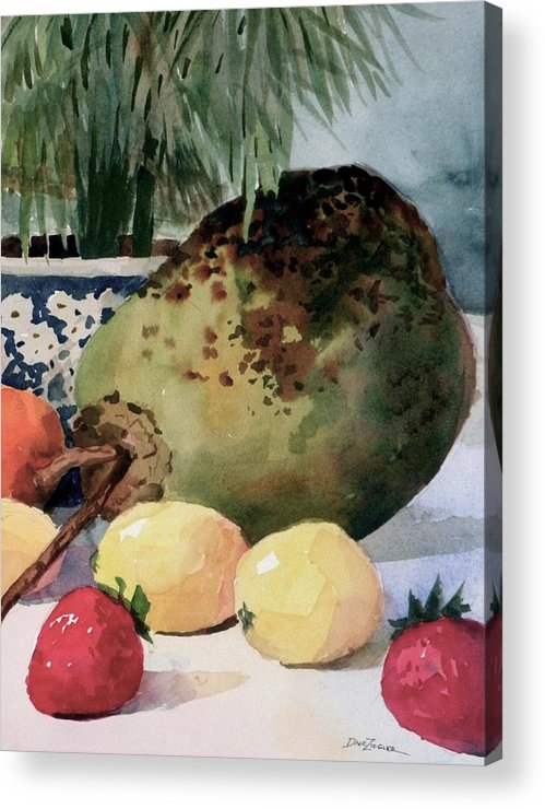 Cocoanut Acrylic Print featuring the painting Tropical Fruit by Faye Ziegler