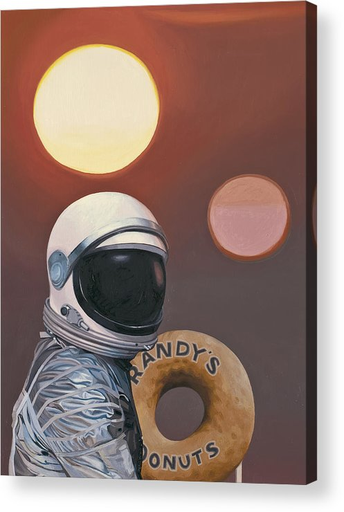 Space Acrylic Print featuring the painting Twin Suns and Donuts by Scott Listfield