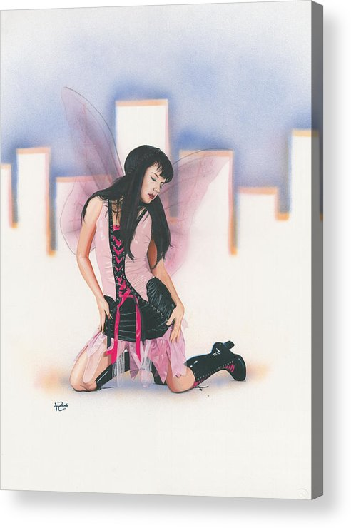 Fantasy Acrylic Print featuring the painting Urban Pixie by Kevin Clark
