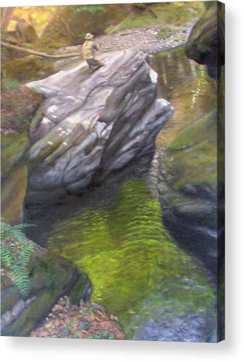 Landscape Acrylic Print featuring the painting Vermont Fisherman by Laurel Ellis