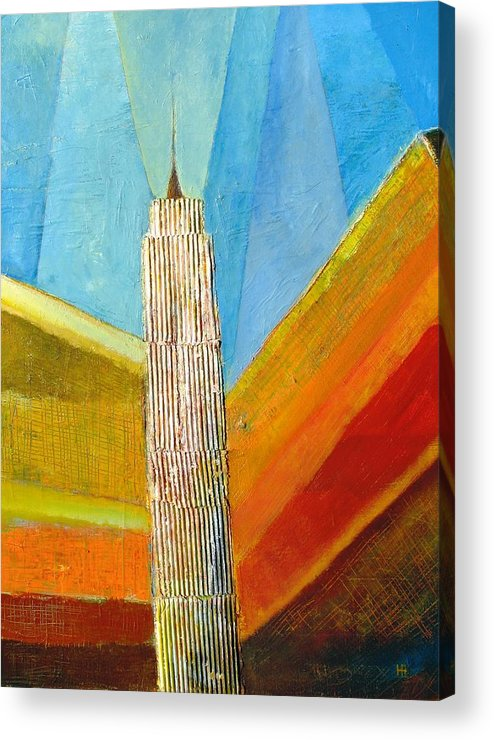 Abstract Cityscape Acrylic Print featuring the painting View From 34th St by Habib Ayat